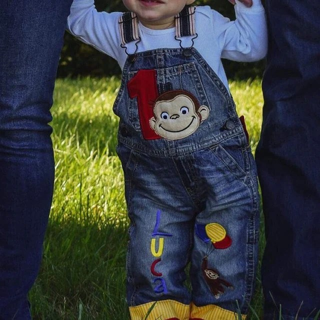Unisex Baby Clothing Unisex Kids Clothing 1st Birthday Outfit Curious George Birthday Overalls Personalized Birthday Clothes