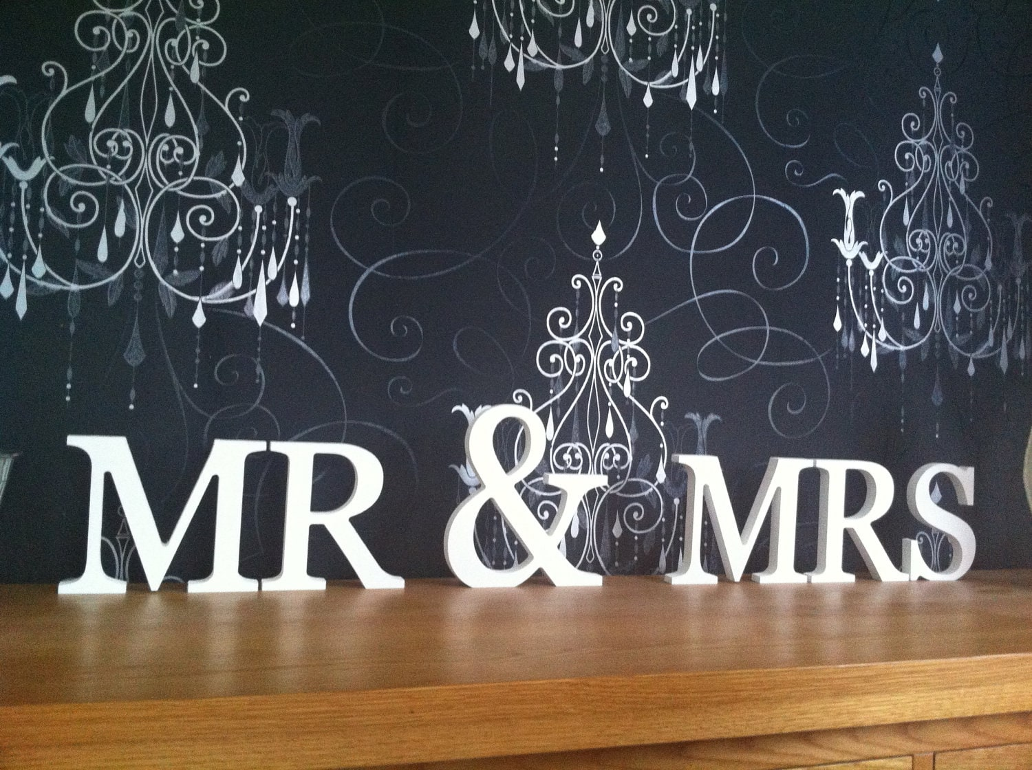 Free-standing Wooden Letters Mr & Mrs Weddings