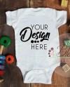 Three Blank White Baby Bodysuits Shirt Mockup Triplet Baby Etsy