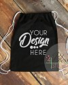 Drawstring Bag Mockup Black Cinch Backpack Template Mockup Etsy