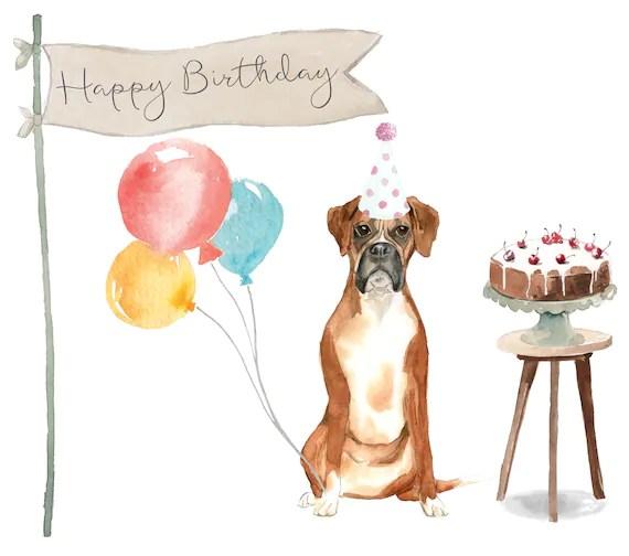 Boxer Dog Birthday Card Etsy