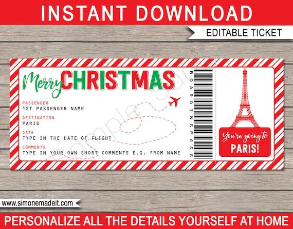 Paris Boarding Pass Christmas Gift Printable Ticket