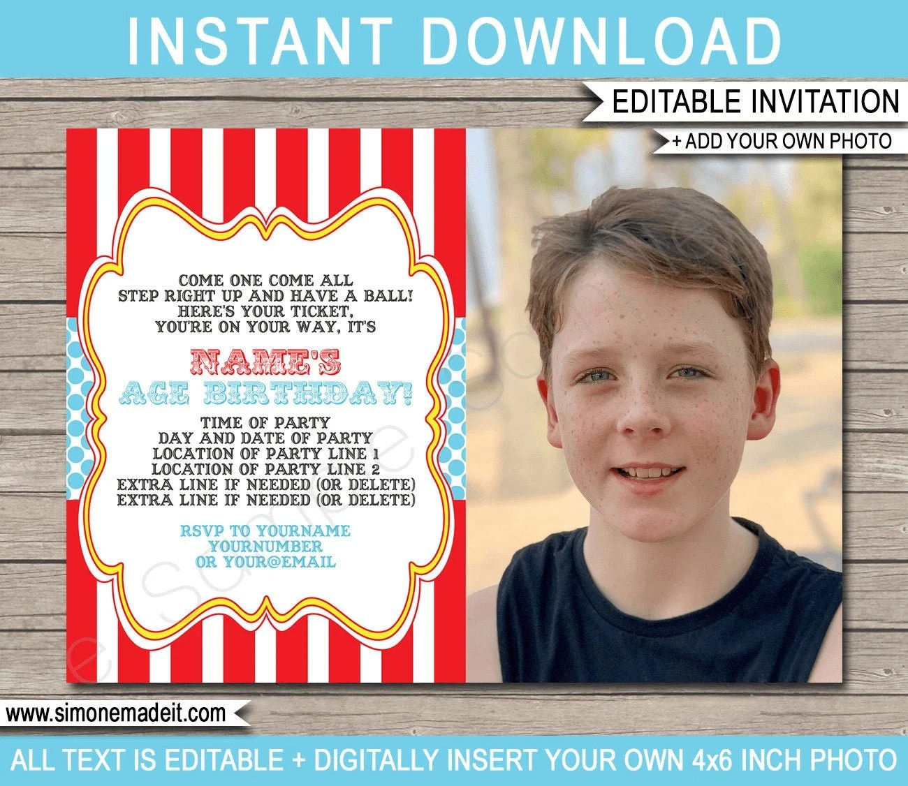 Circus Photo Invite Printable Birthday Party Invitation Template Carnival Circus Theme Instant Download With Editable Text You Edit By Simonemadeit Catch My Party