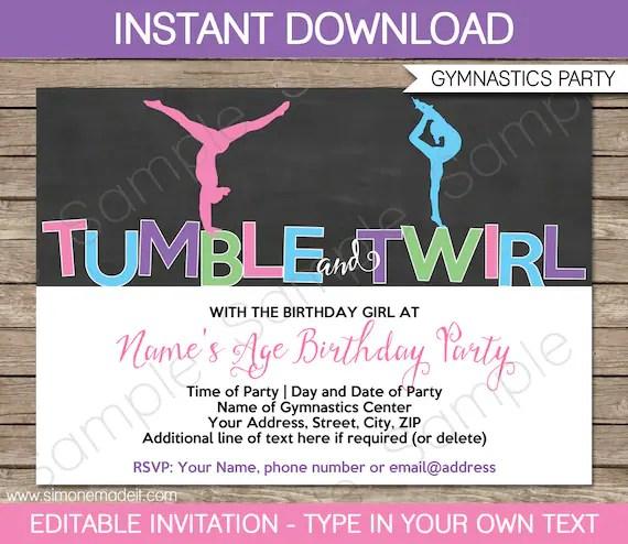 gymnastics birthday party invite