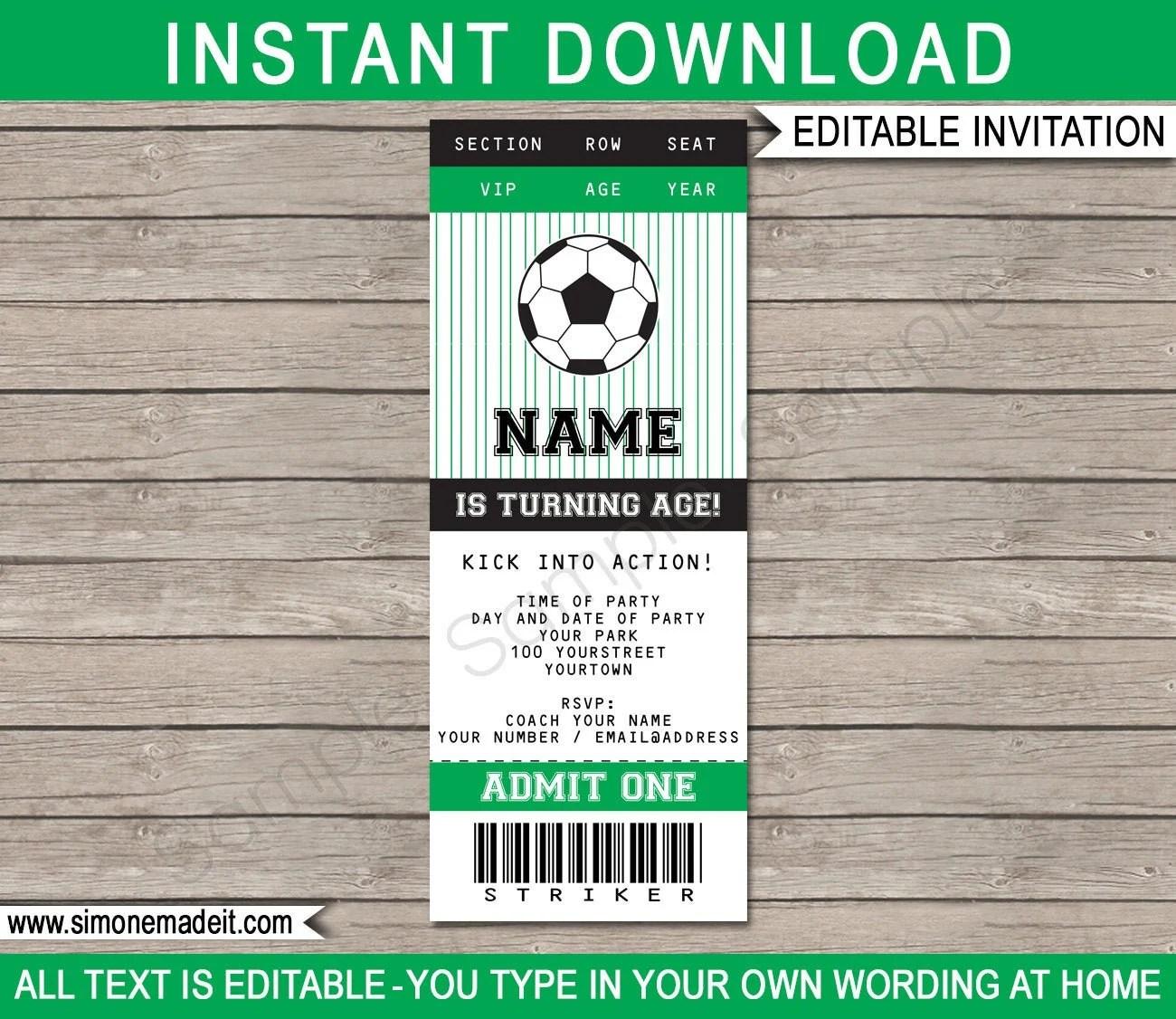 soccer birthday party ticket invitation
