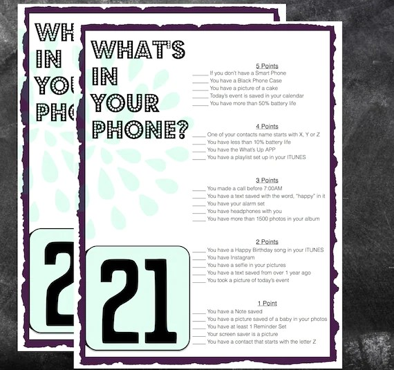 21st Birthday Party Game Whats In Your Phone Birthday Party Etsy