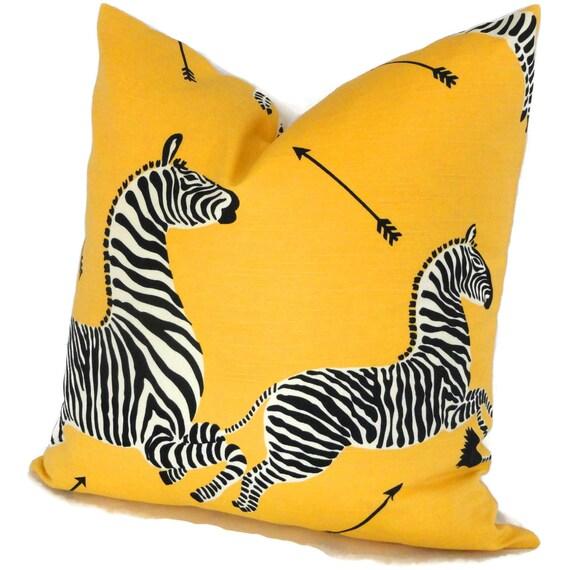 yellow scalamandre outdoor zebra decorative pillow cover lumbar pilllow accent pillow throw pillow