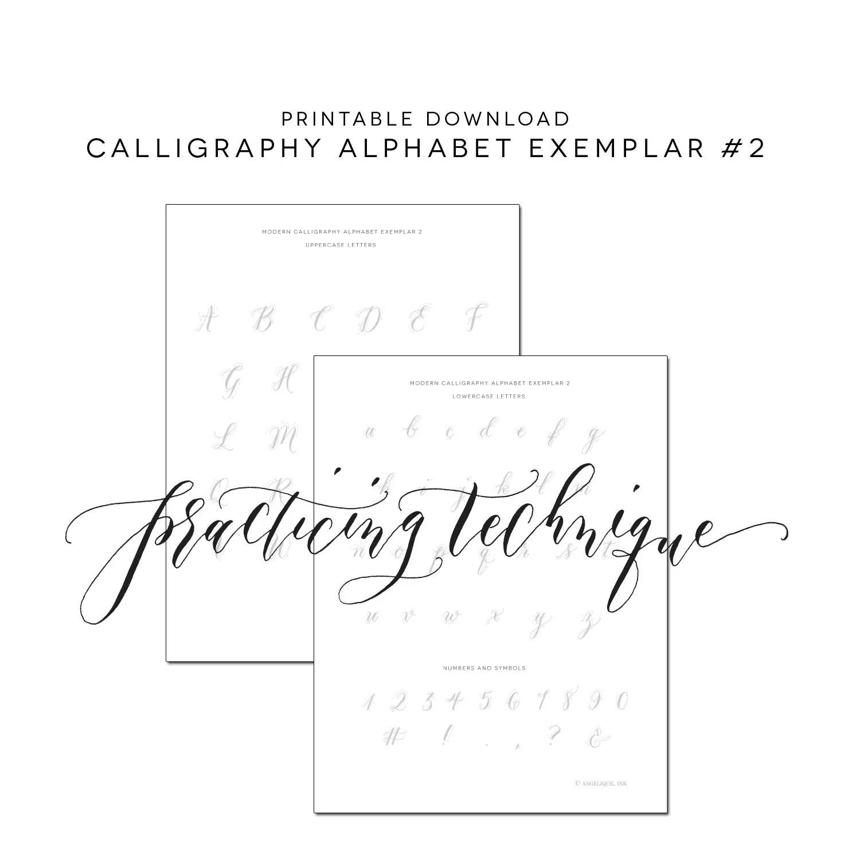 Calligraphy Alphabet Printable Practice Worksheet Alphabet