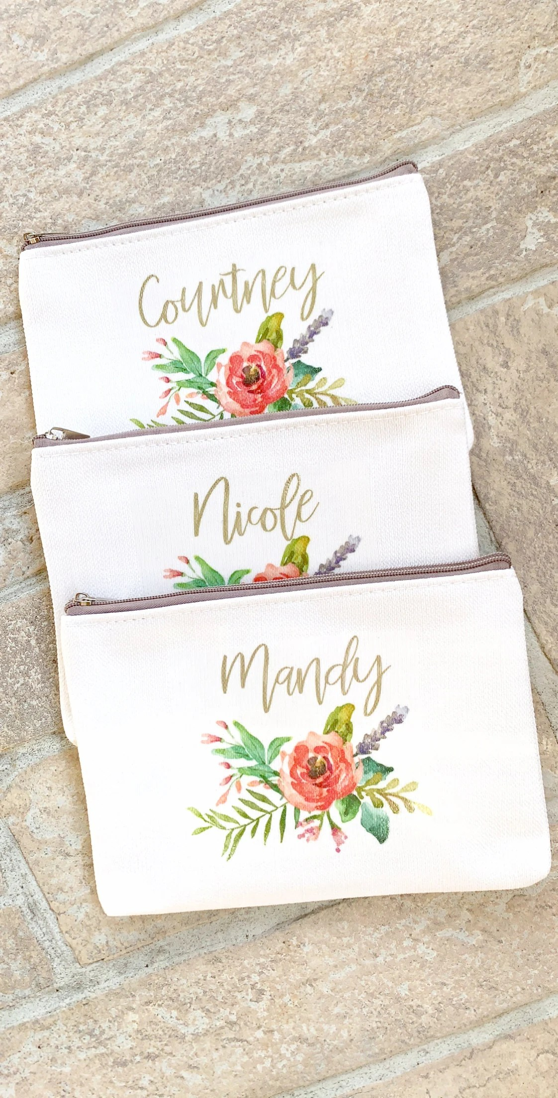 Personalized Makeup Bag Wedding Party Gift for Bridesmaids image 1
