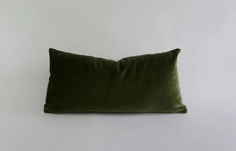 olive green decorative bolster pillow cover 10x20 to 12x24 medium weight cotton velvet invisible zipper closure knife or piping edge