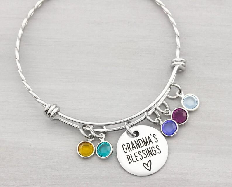Grandmas Blessings Birthstone Bangle Bracelet  Personalized image 0