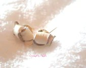 White Leather Knot Stud E...