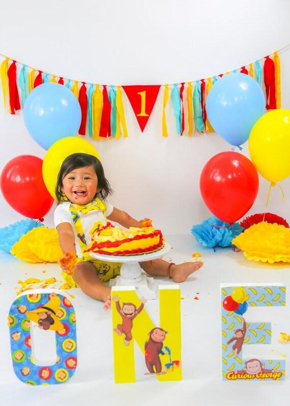 Boy 1st Birthday Banner Curious George Birthday 1st Birthday Etsy