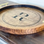 Round Wood Tray Large Ottoman Tray Personalized Tray With Handles Coffee Table Tray New Home Gift