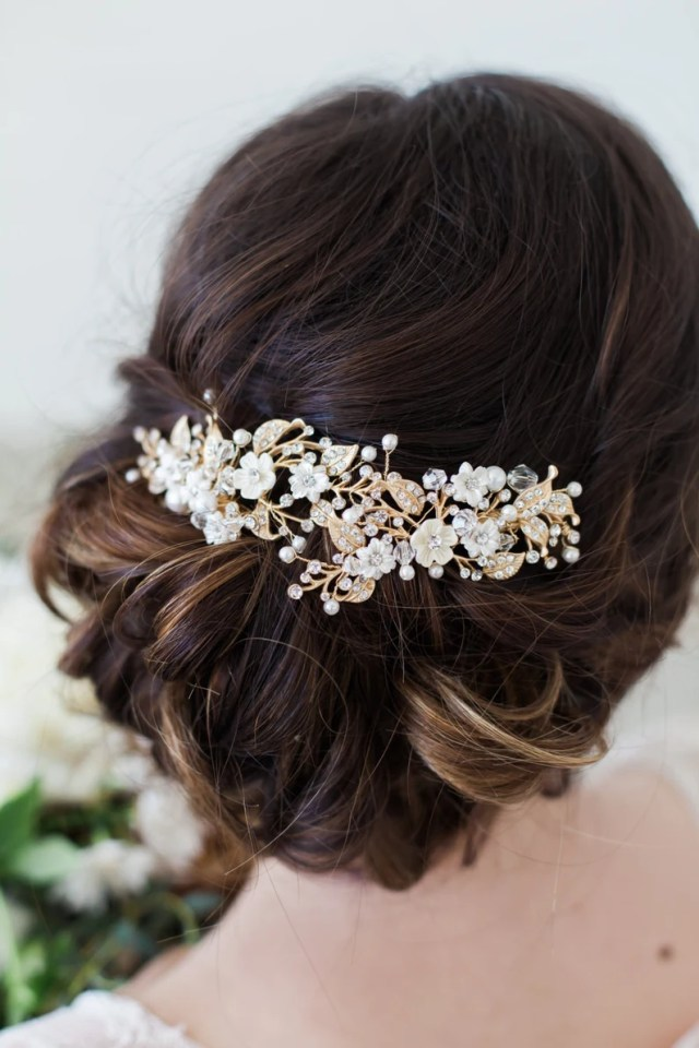 wedding hair accessories, bridal headpiece, gold flower headpiece hair clip, flower headpiece, bridal accessories, gold bridal back piece