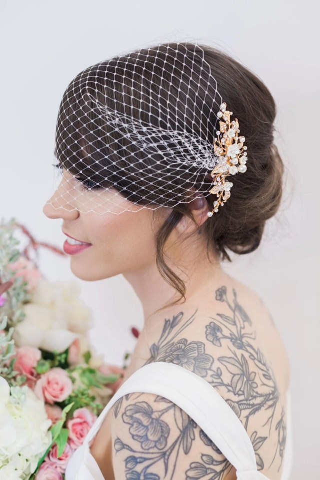 gold flower headpiece birdcage veil, ivory flower hair vine, birdcage veil, hair clips wedding hair accessories, veil, bridal accessories