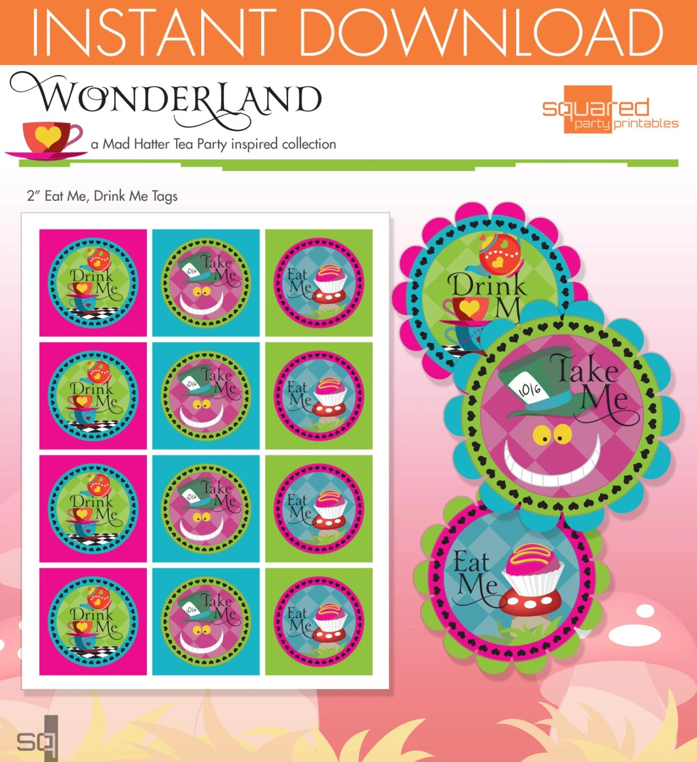 Mad Hatter Tea Party Inspired Printable Eat Me Drink Me Favor