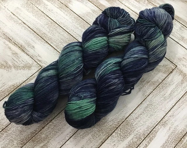 In Stock | Hand Dyed Yarn | Indie Dyed | Fingering Weight | Superwash Merino Wool | Mosaic | Navy | Mint | Jade | Gray/Grey