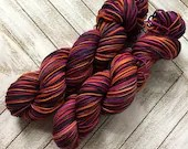 In Stock | Hand Dyed Yarn | Indie Dyed | Fingering Weight | Superwash Merino Wool | Variegated | Orange | Purple | Charcoal