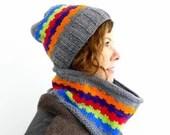 Fiesta Hat and Cowl - Knit Pattern - PATTERN ONLY - Hat Pattern - Knitting - Cowl - Scarf - Neck warmer - Neckwarmer