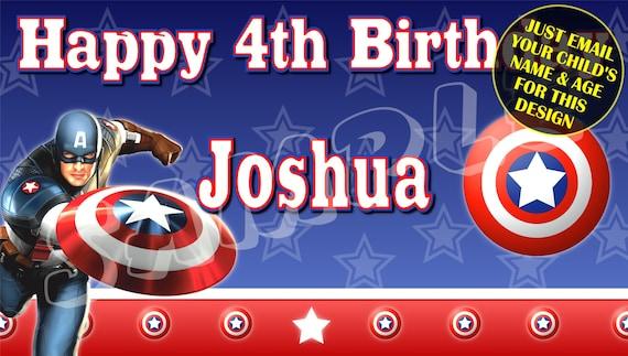 Captain America Happy Birthday Banner Birthday Banner Etsy