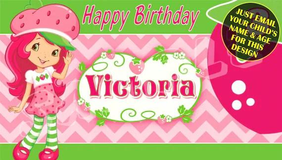 Strawberry Shortcake Happy Birthday Banner Birthday Banner Etsy