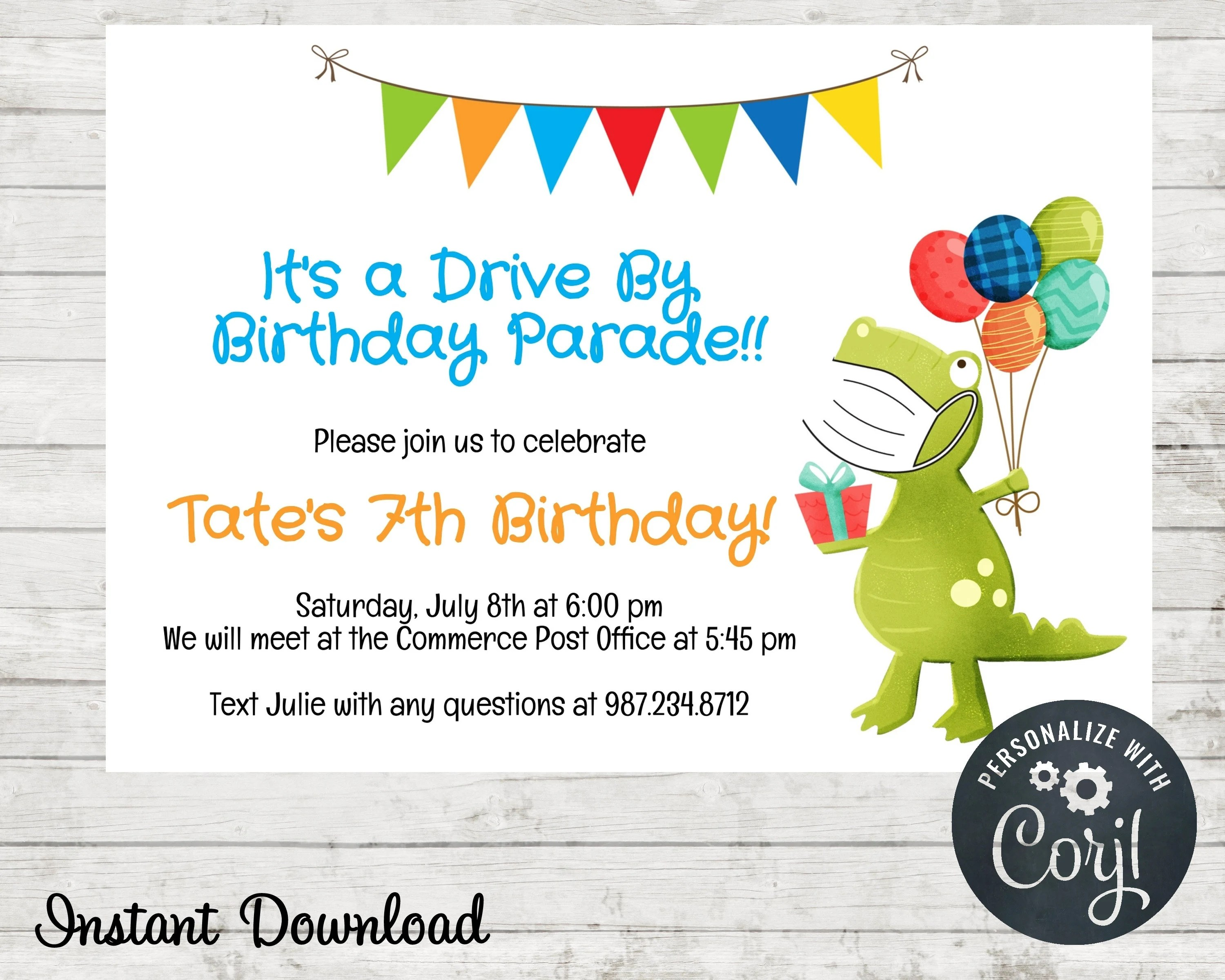 dinosaur drive by birthday parade