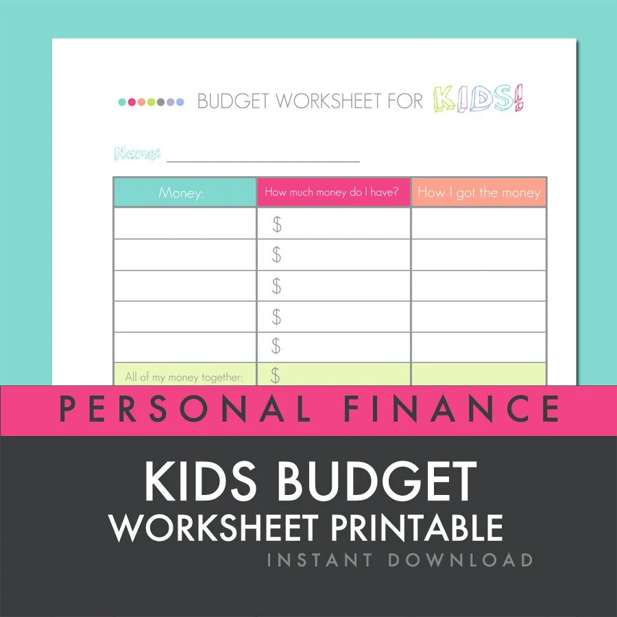 Items Similar To Kids Budget Worksheet