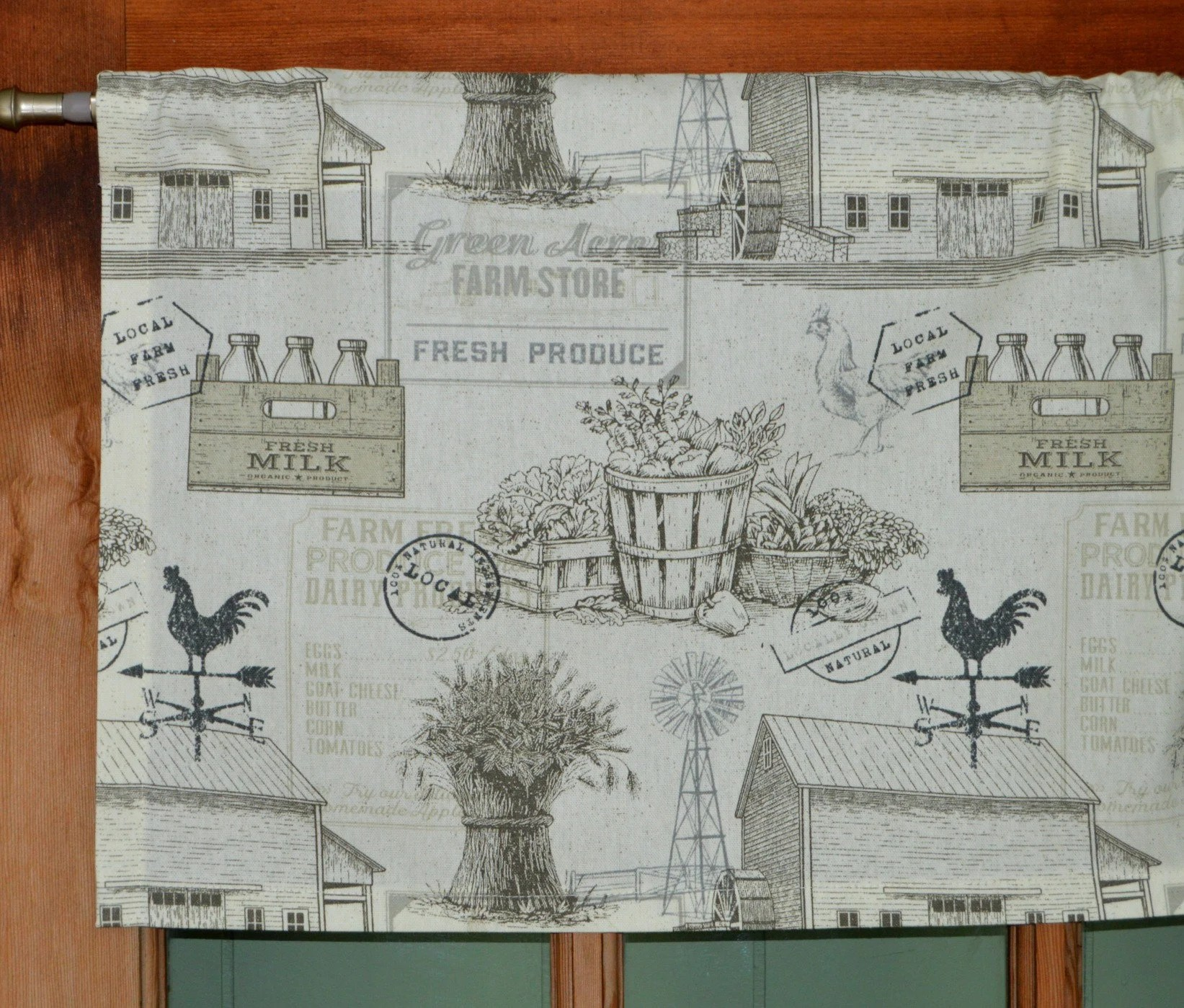 country kitchen farmhouse curtain valance farm toile rooster charcoal gray and off white valance country valance cottage curtains