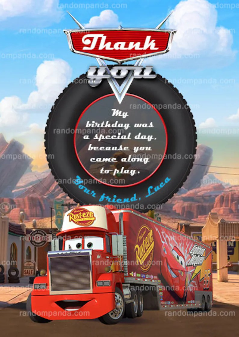 Mack Truck Invite Mack Truck Party Digital Delivery Personalize Disney Cars Invitation Paper Paper Party Supplies