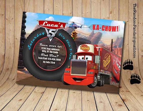Digital Delivery Disney Cars Invitation Mack Truck Party Etsy