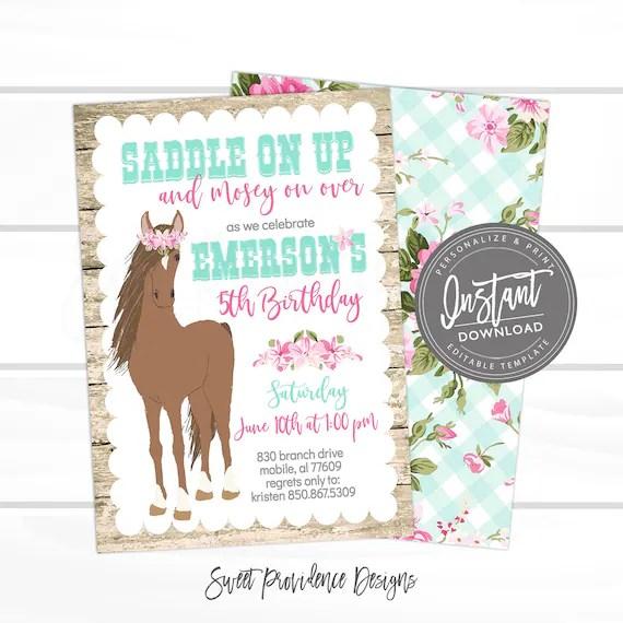 horse birthday invitation cowgirl