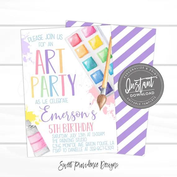 art party invitation paint party art