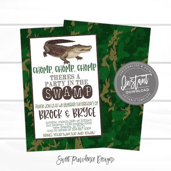 gator birthday invitation boys