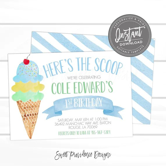 Ice Cream Birthday Party Invitation First Birthday Blue Ice Cream Social Invitation Editable Birthday Invite Template Instant Access By Sweet Providence Designs Catch My Party