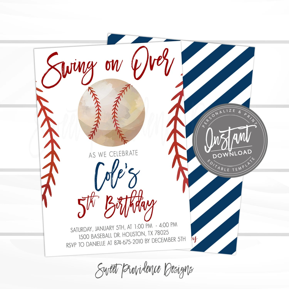 Baseball Birthday Invitation Swing On Over Editable Baseball Team Party Boy Sports Birthday Invitation Printable Instant Access Edit Now