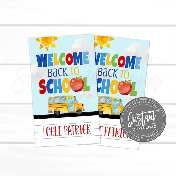 Back To School Printable Name Tag Welcome Back Name Tag