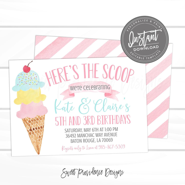 Ice Cream Sibling Birthday Party Invitation Joint Birthday Etsy