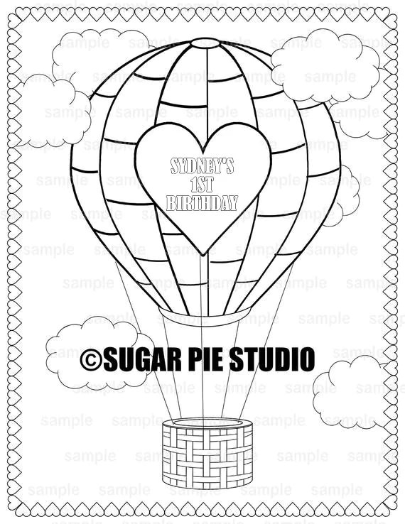 Hot Air Balloon Coloring Page Birthday Party Favor Childrens Kids Coloring Page Activity Pdf Or Jpeg File