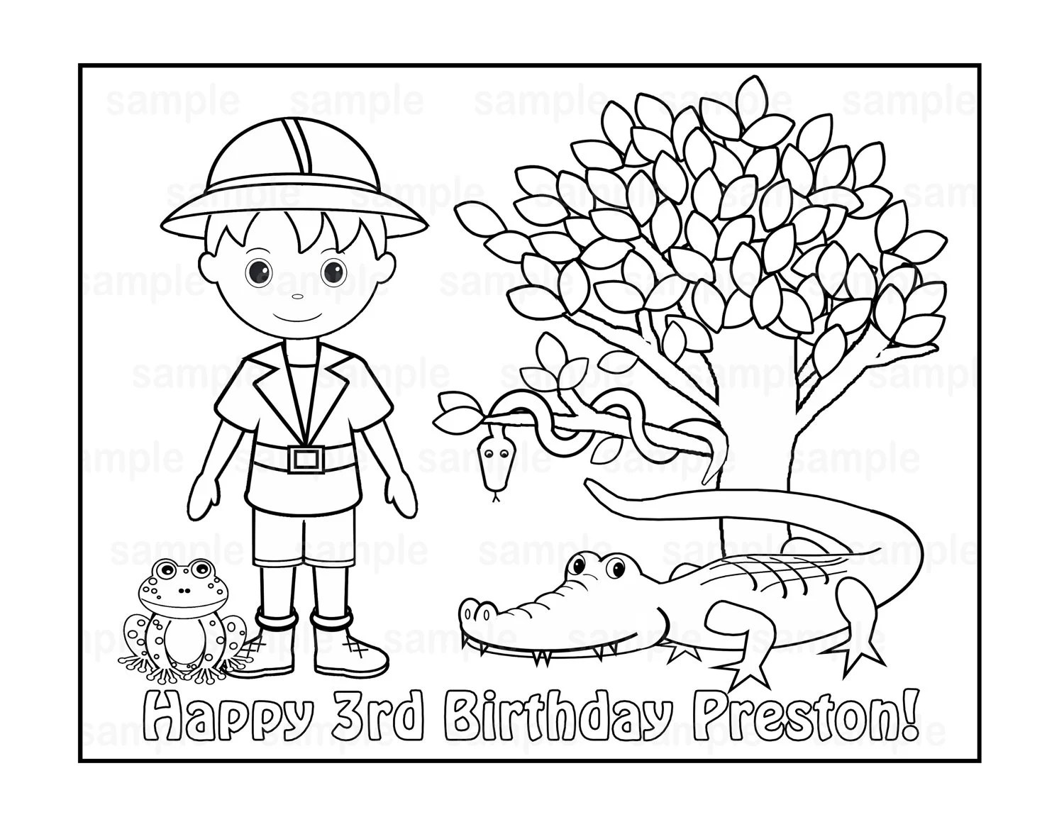 Personalized Printable Safari Jungle Girl Boy Birthday Party