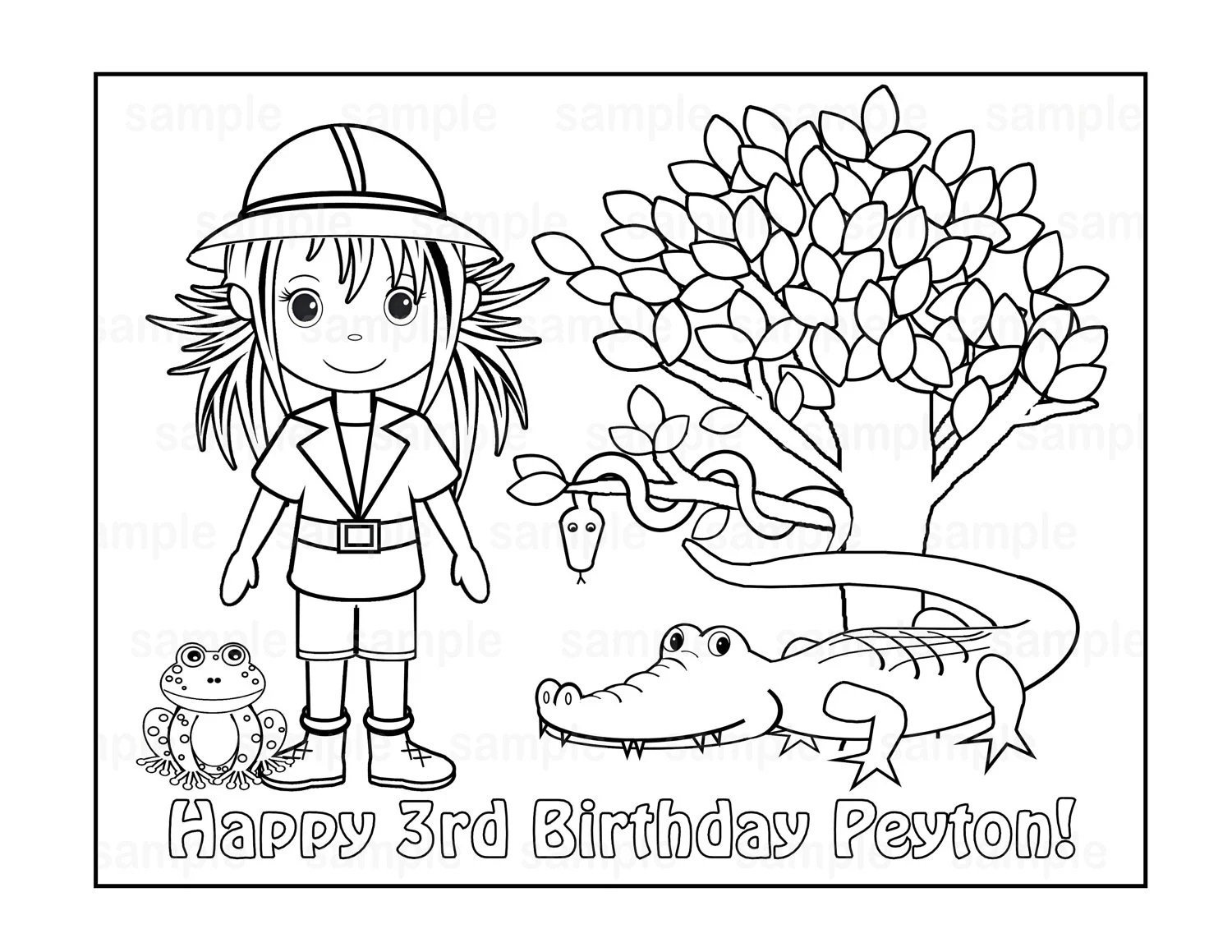 Personalized Printable Safari Jungle Girl Birthday Party