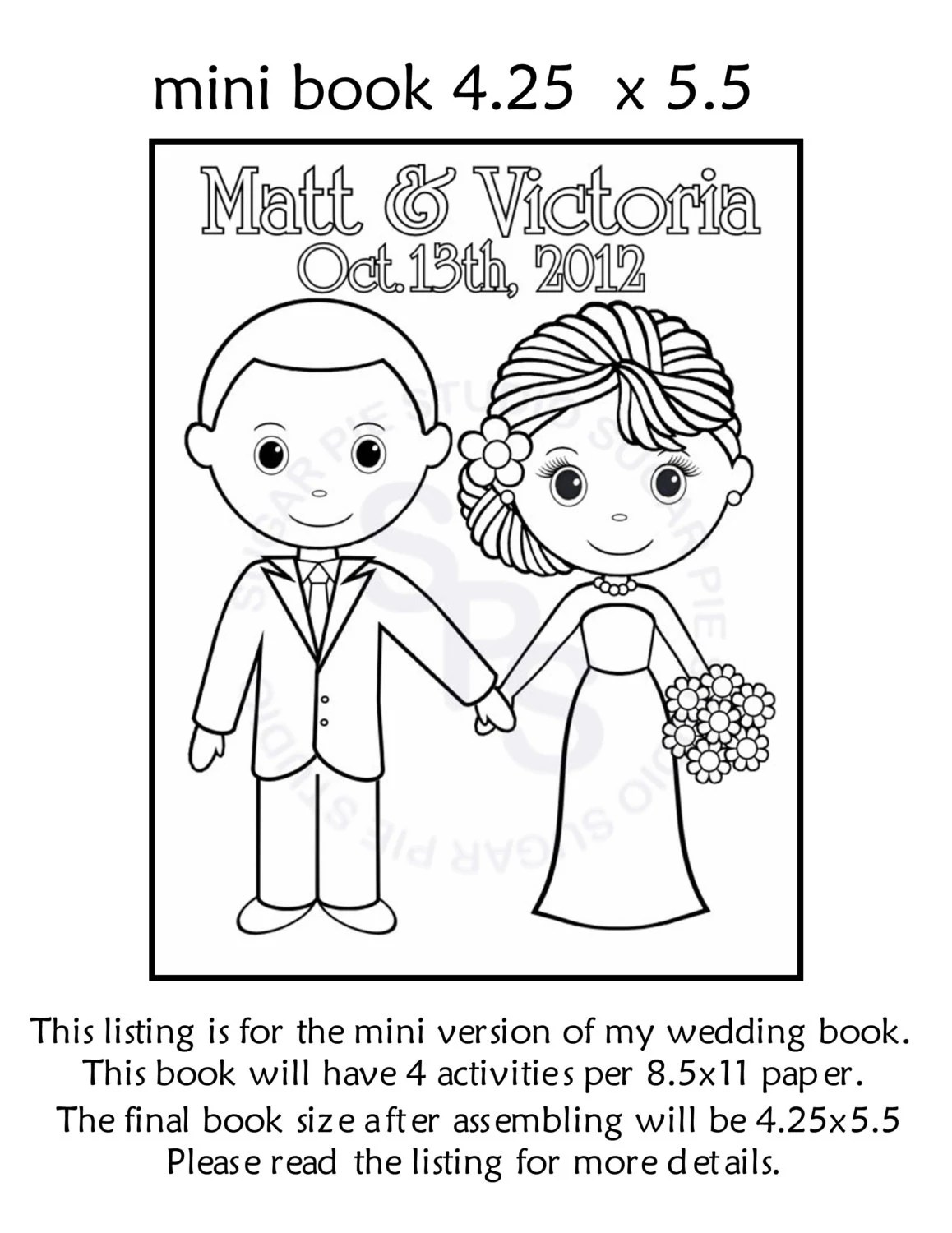 Wedding Coloring Activity Book Mini Printable Personalized
