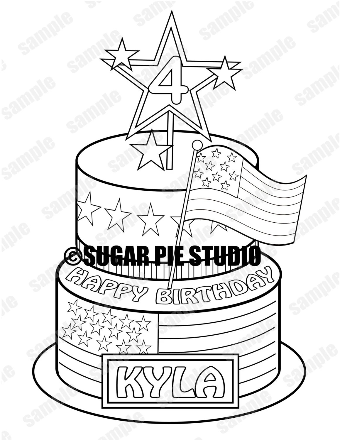 Patriotic 4th Of July Birthday Coloring Activity Page Or