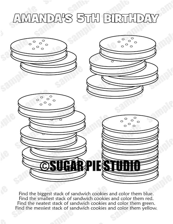 Cookies Coloring Page Birthday Party Favor Childrens Kids Etsy