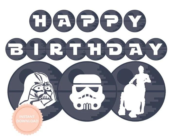Instant Download Star Wars Happy Birthday Banner Star Wars Etsy