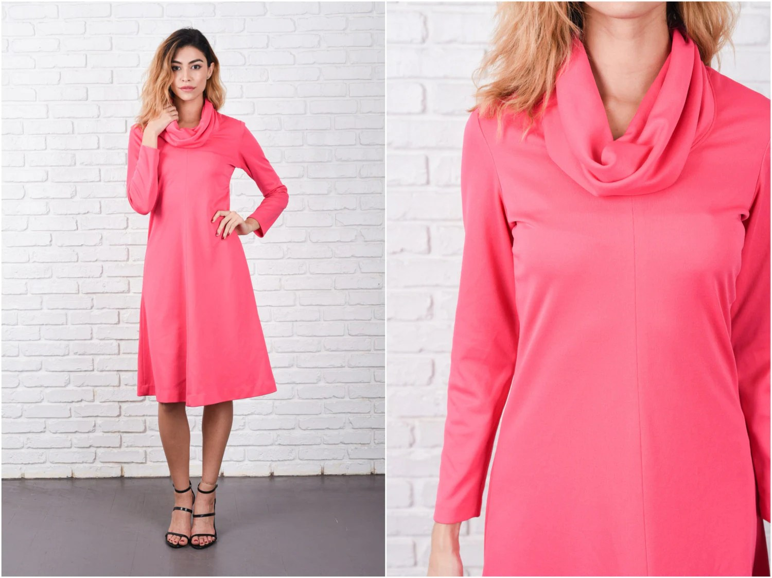 Pink Mod Dress Vintage 70s Cowl Draped Neckline A Line