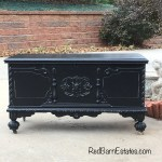 Antique Trunk Painted Black Lane Company Cedar Chest Blanked Chest Shabby Chic Solid Wood