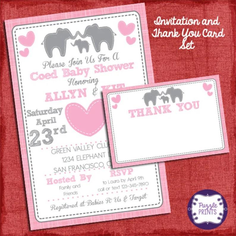 Elefanten Baby Dusche Girl Einladung Und Danke Karte Bühnenbild Baby Dusche Einladung Party I Die Sie Drucken