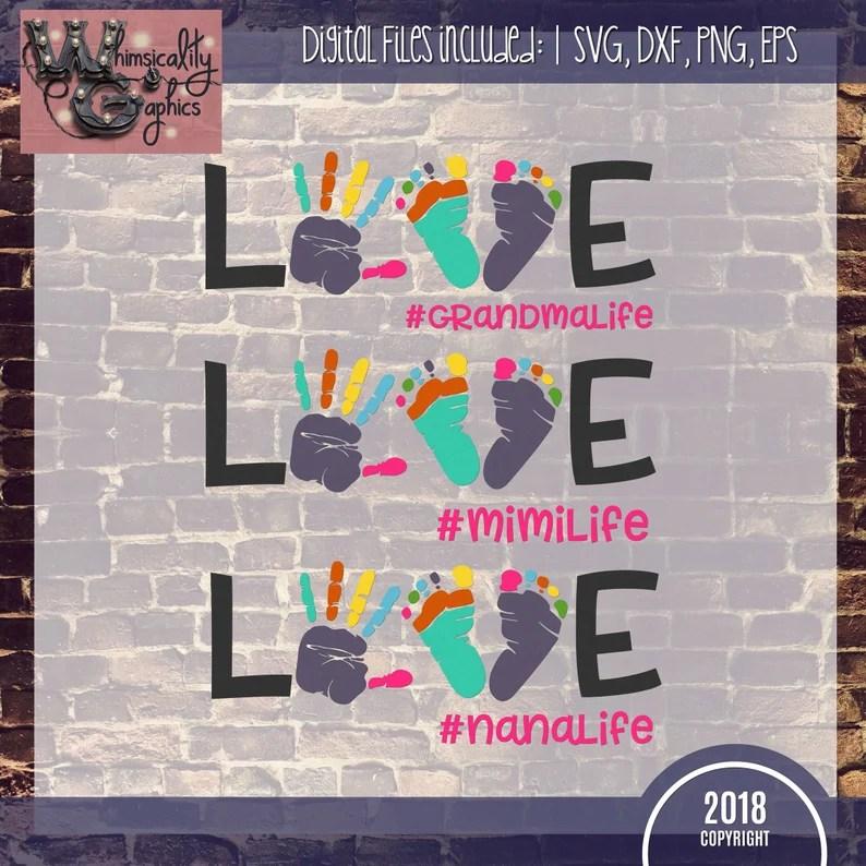 Download Love Grandma Nana Mimi Life Svg Dxf Png Eps Sublimation   Etsy