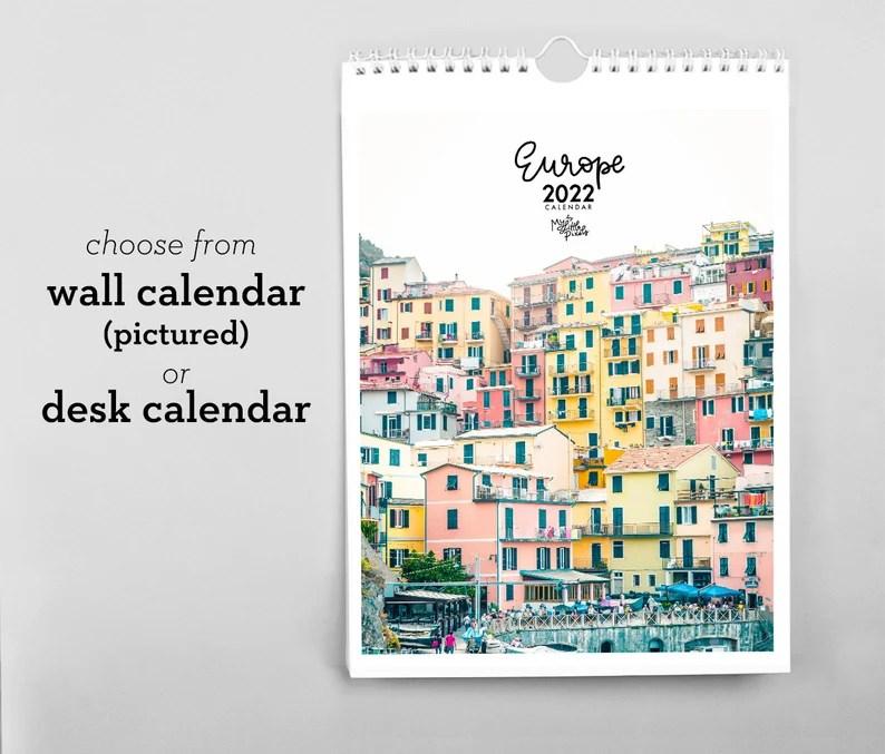 2022 wall calendar travel photography calendar 2022 calendar Wall calendar A4
